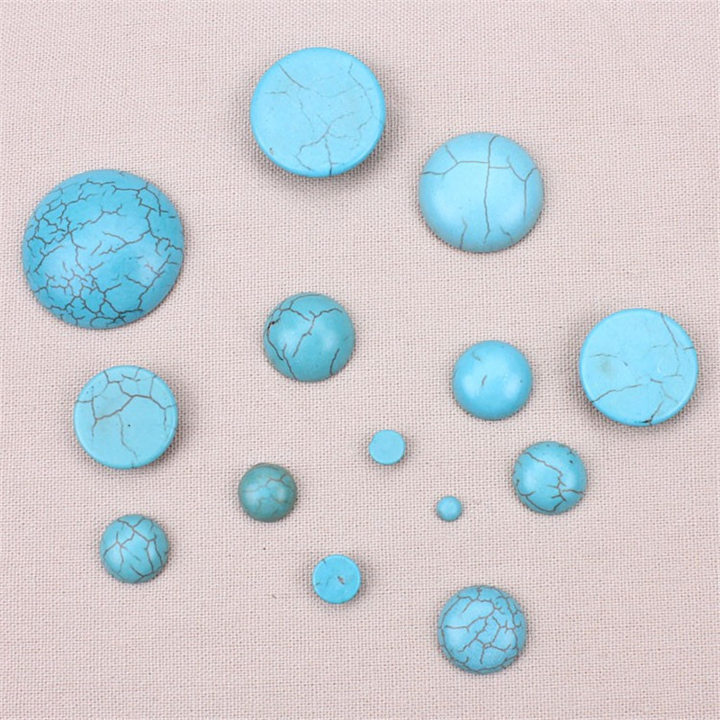 10pcs Half Round Flat Back Cabochons Blue Howlite Smooth Natural Stone Beads DIY