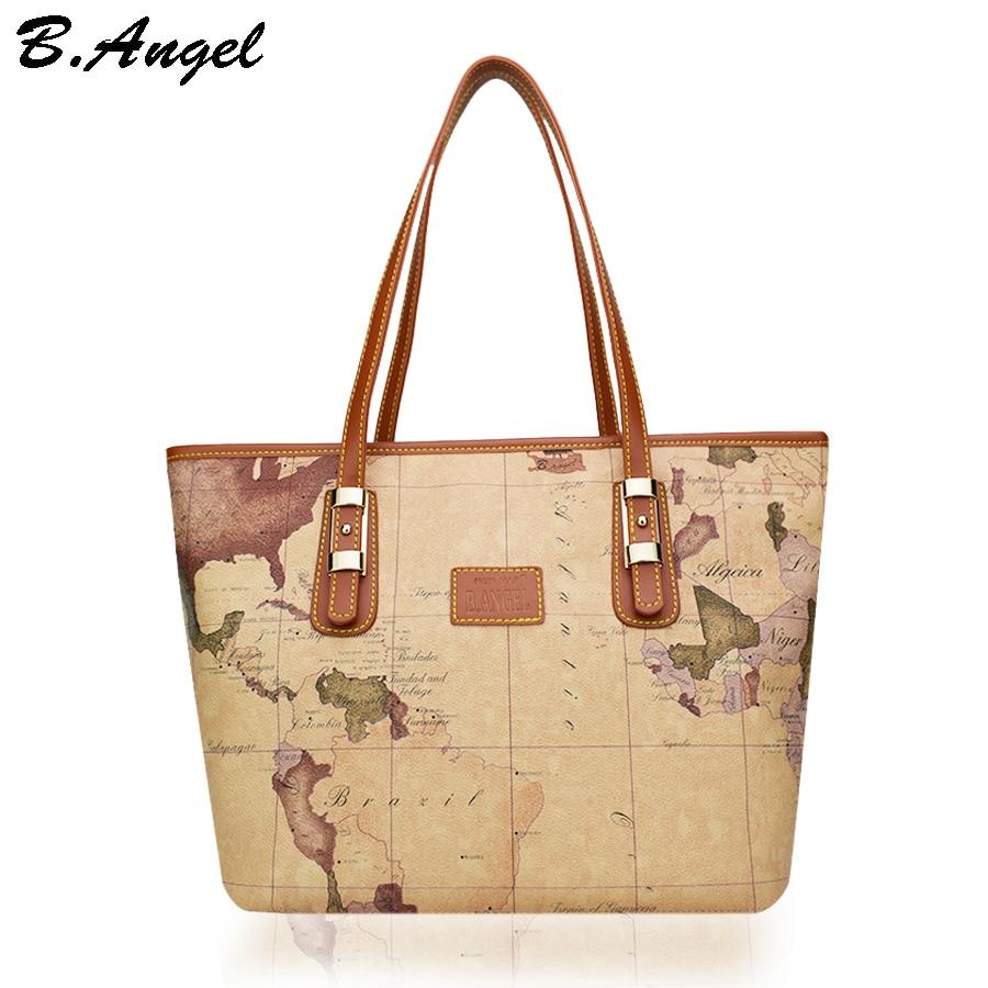 High Quality World Map Women Bag Fashion Bag Special Handbag Brand Designer Shoulder Bag Big Tote Bag Women Leather Handbags