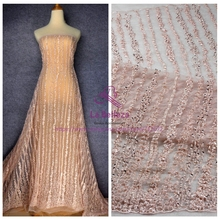 La Belleza  1 yard Nude pink and other 6 colours Super heavy handmde beaded bridal lace fabric