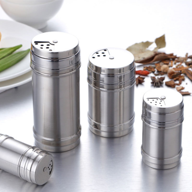 1Pcs Kitchen Gadgets Spice Jar Spice Pepper Shaker Rotating Cover Seasoning Can  Multi-purpose Salt Sugar Bottle Stainless Steel