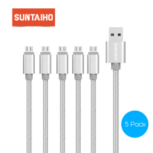 [5-Pack]Suntaiho Nylon Weaving Micro Cable Fast Charging Data Microusb Cable Mobile Phone Android 1m 2m 3m 0.25m USB Cable