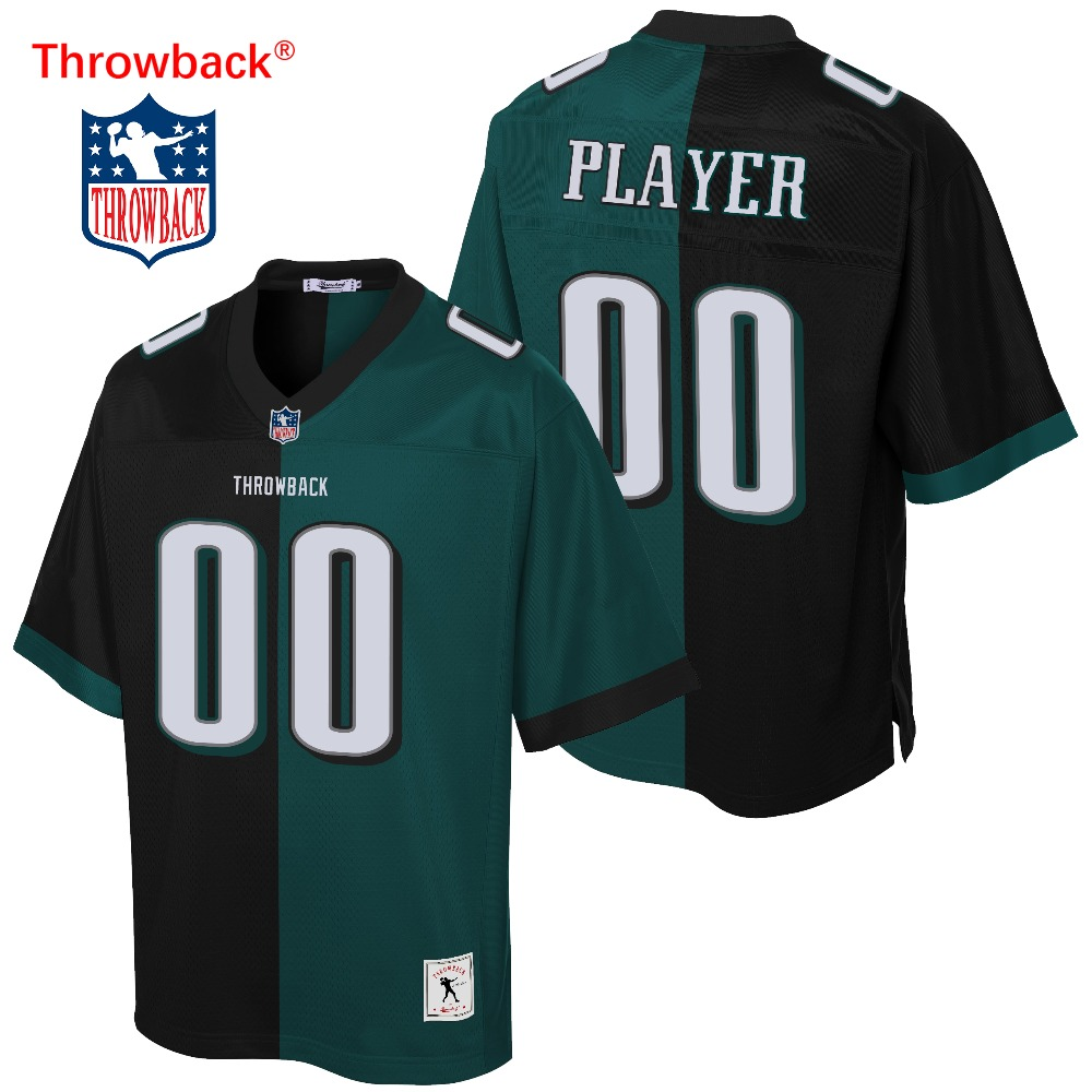 Throwback Jersey Men's Philadelphia American Football Jersey Customize Any Number Name Color Green Black Free Shipping Cheap image