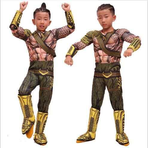 Superhero deluxe criança músculo cosplay vestir-se amanhecer da justiça aquaman halloween traje meninos dc liga da justiça neptune cosplay