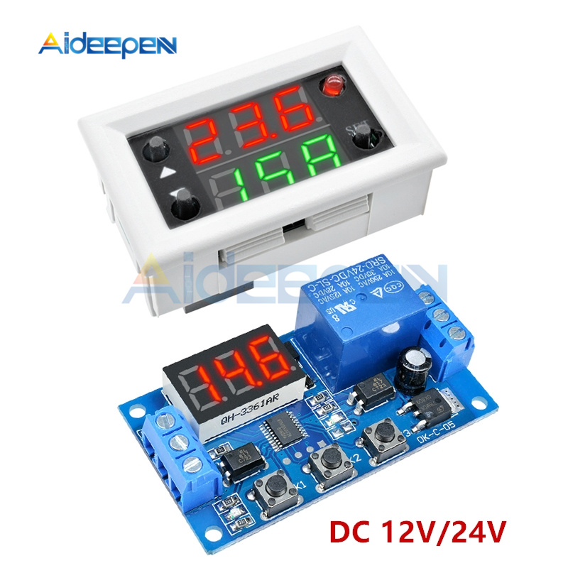 DC 12V 24V 10A 20A Dual Display Time Relay Module Mini LED Digital Time Delay Relay Timing Delay Cycle Time Control Switch Home