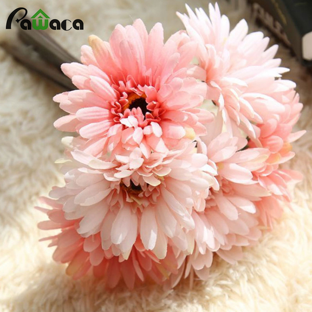 Fantastisch 7 Heads Gerbera Flowers African Daisy Bride Bouquet Wedding Decorative  Flowers Silk Artificial Flowers For Even