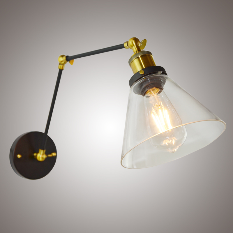 Retro Two Swing Arm Wall Lamp Sconces Glass Shade Baking Finish RH Restoration Wall Light Fixture,Wall Mount Swing Arm Lamps