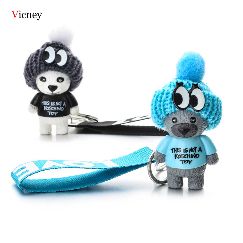 Vicney nova chegada bonito urso de pelúcia chave chainchaineste não é um koschino toybear urso chaveiro animal padrão chave titular para a menina amigo