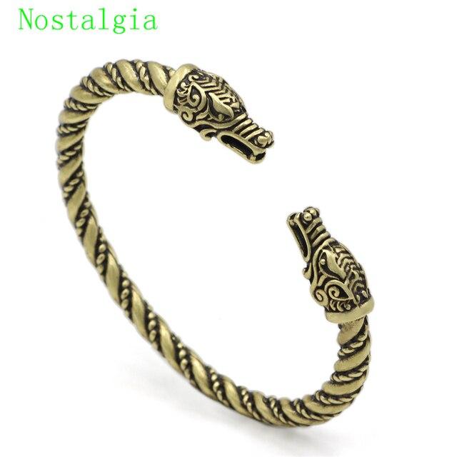 3c17a98b3aa6b Vikings Silver Wolf Head Bracelet Bracelet Of Ragnar Lothbrok