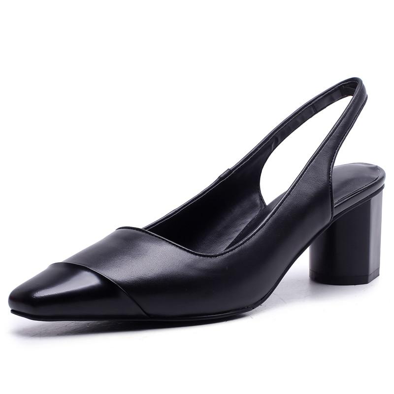 Talons Véritable Femmes on 5 Black Y312 Slip Boîte Cuir D'été Pompes Chunky 5 Carré En Robe bout white Femme Emballage Chaussures Cm Escarpins qXwzx5nOZ