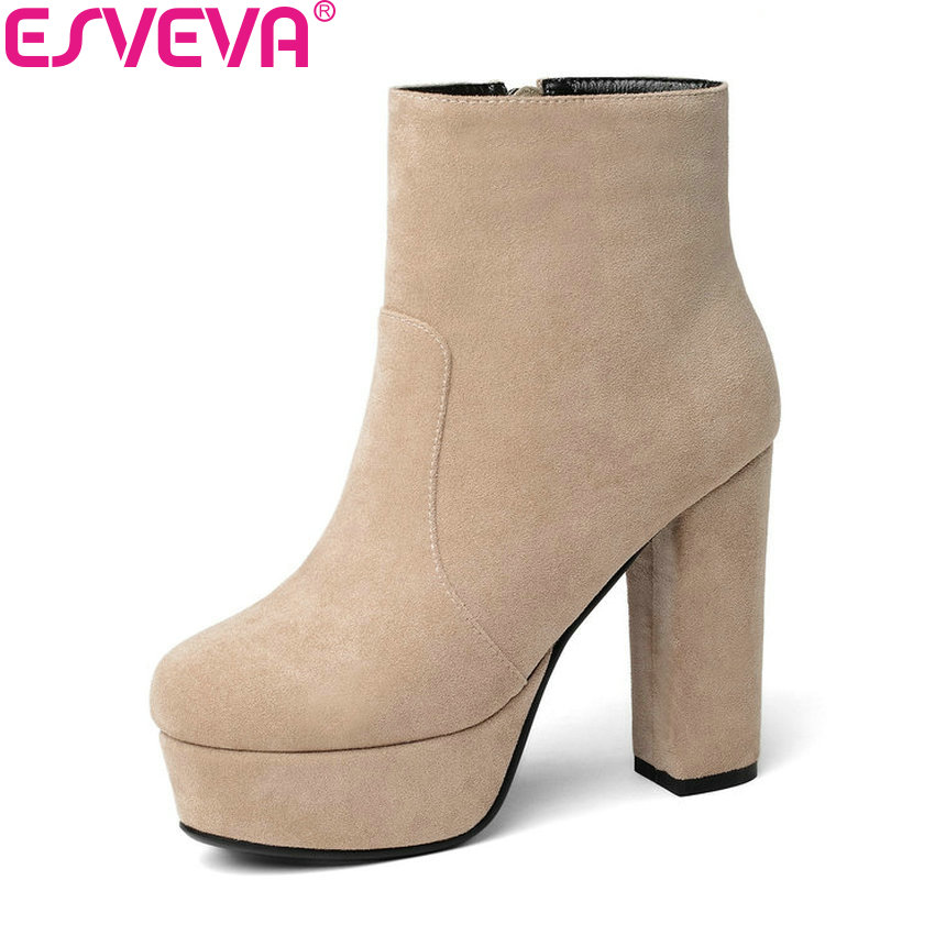 ESVEVA 2019 Women Boots Shoes Short Plush/PU Square High Heel Shoes Platform 4cm Ankle Boots Flock Spring and Autumn Boots 34-43 ...
