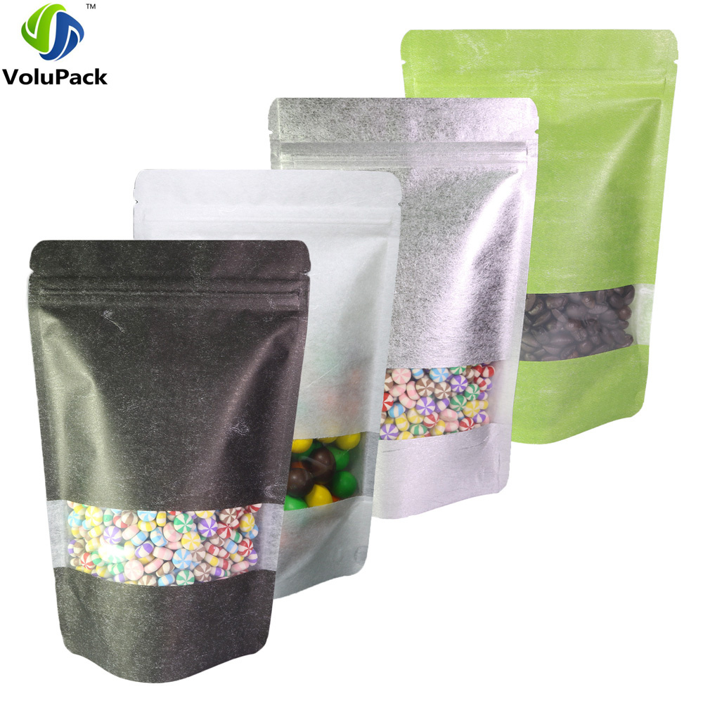 13x20cm 5x7 75in 100x Matte Clear Front Silver Green White Black Rice Paper Stand Up Pouch