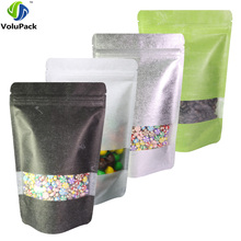 13x20cm(5x7.75in) 100x Matte Clear Front Silver/ Green/ White/ Black Rice Paper Stand Up Pouch Zip Lock Package Bags Tear Notch