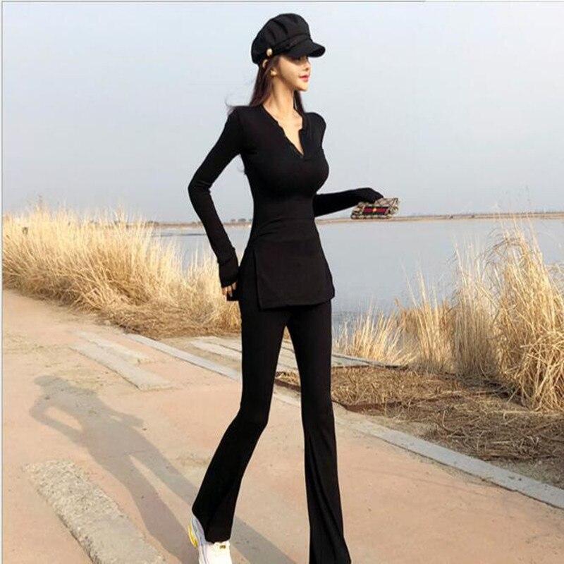 Hpt Sale 2018 coton plein col en v nouveau costume femme Slim mode décontracté deux pièces chandail jambe large pantalons évasés deux ensembles de femmes