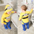5pcs/lot Toddler Baby Boy's Hero Costumes Despicable me Hooded Rompers minions boys footed romper pajamas Pyjamas Cotton sleeper