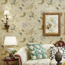 American country pastoral retro yellow wallpaper bedroom living room moisture-proof non-woven TV background