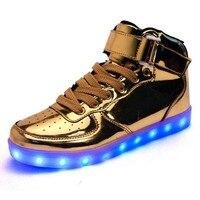 2018 Новая модная светодио дный с подсветкой, обувь для зарядки с USB для мальчиков и девочек, кожаные детские светящиеся кроссовки высокого ка