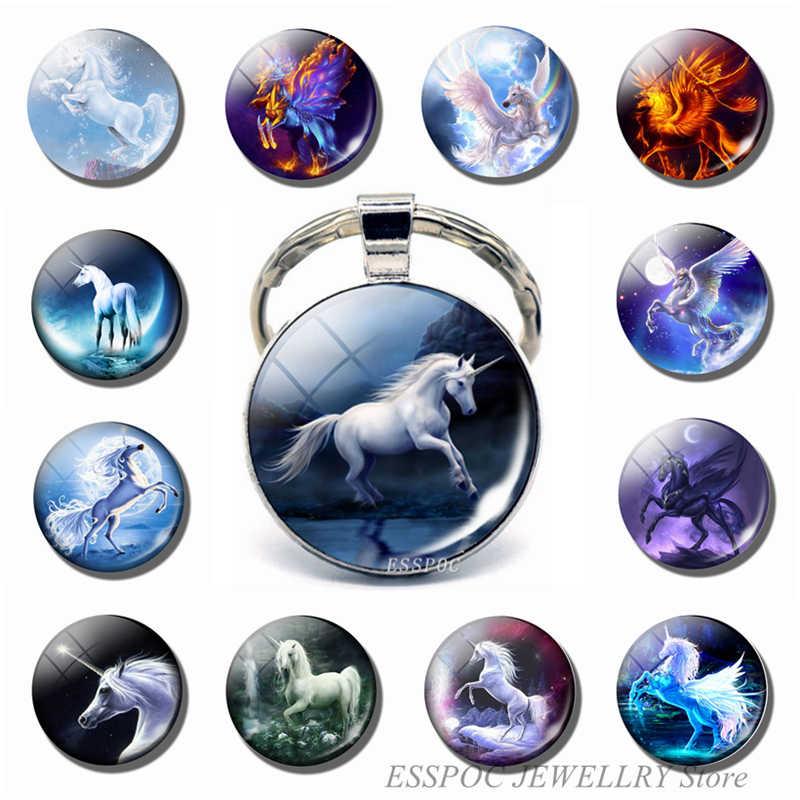 الأبيض الحصان ميدالية/ حلقة مفاتيح على شكل حيوانات الطبيعة الحيوان الصورة الفضة مطلي القلب قلادة مفتاح سلسلة حلقة هدية الكريسماس