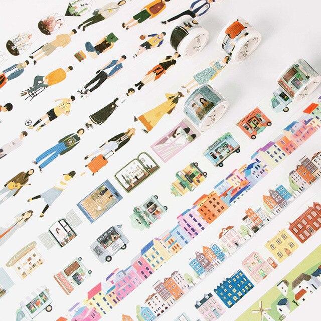 1 PC 24 Estilo creativo la gente moderna de la ciudad de la vida diaria cinta de Washi whisky DIY Scrapbooking decorativo cinta adhesiva