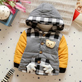 Дети Пальто 2016 Зимние Мальчики Утолщенной Теплой кашемир куртка детская Мода Плед Хлопка-проложенный одежды