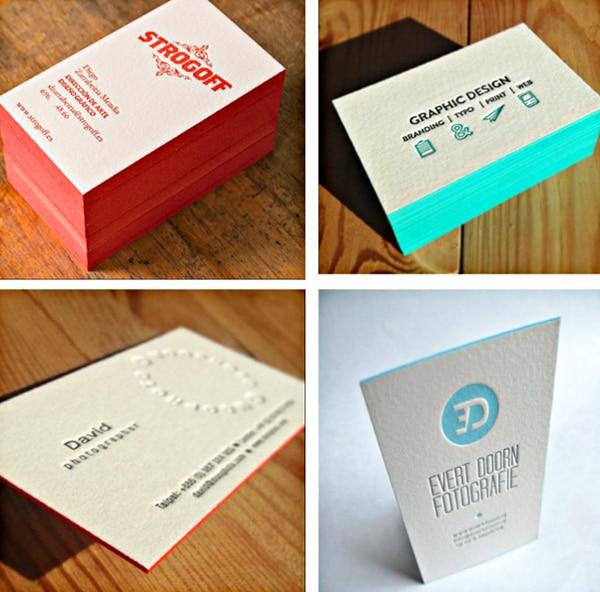 Beauty Design 600gsm Cotton Custom Letterpress Business Card Edge Color Printing Service Carte De Visite 200pcs