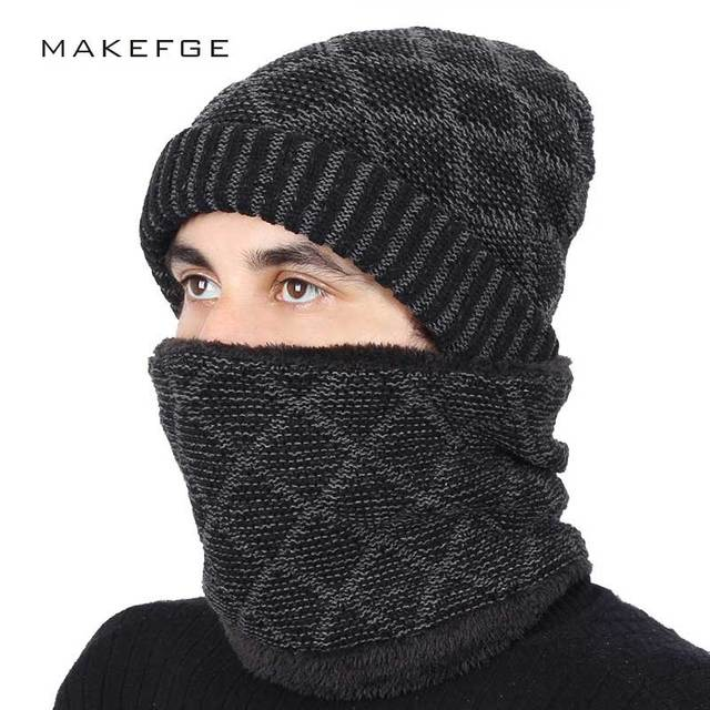 2018 New Plaid High Quality Men s Knit Beanie Hats Scarf 2 Pieces Set  Winter Warm Plus ba57c4bd338