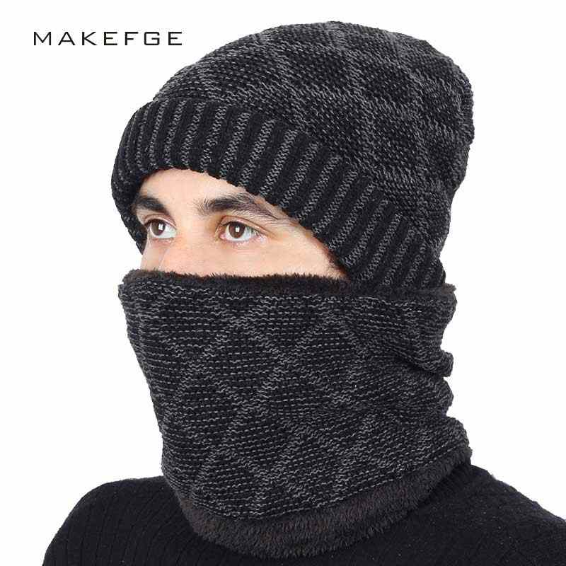 9bb30ca7b99 2018 New Plaid High Quality Men s Knit Beanie Hats Scarf 2 Pieces Set  Winter Warm Plus