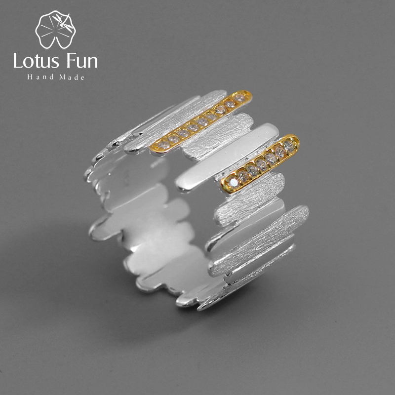 Lotus Fun Real 925 Sterling Silver Handmade Natural Zircon Fine Jewelry Creative Minimalist Style Parallel Lines Rings for Women parallel lines