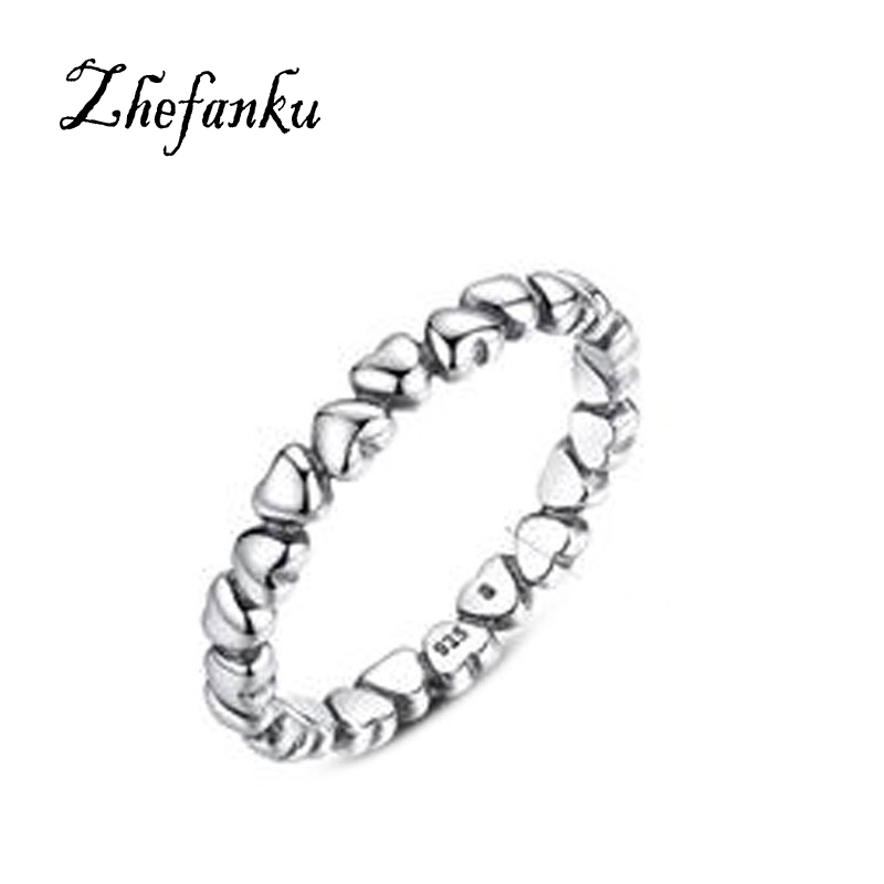 Authentic Solid Original Compatible With Pan Jewelry Silver Forever Love Heart Finger Ring