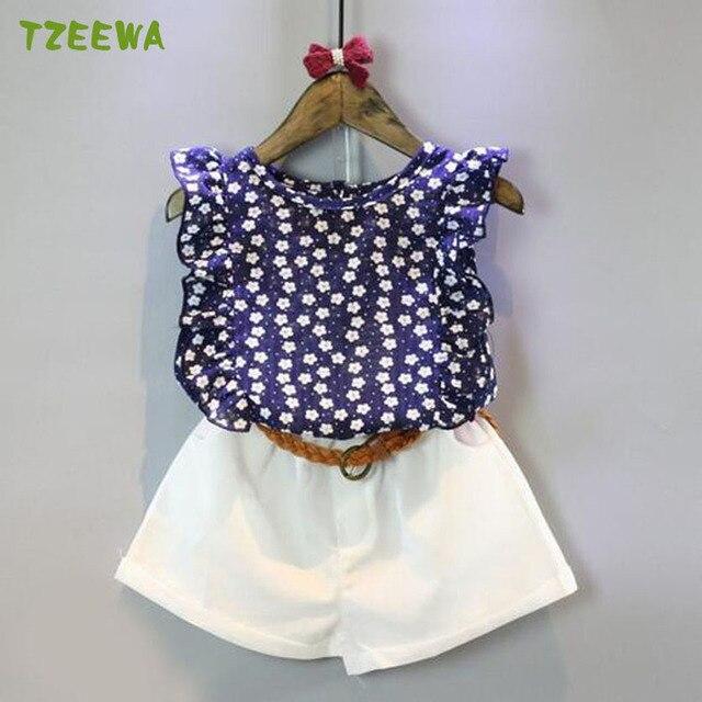 1a24dd728d Meninas Do Bebê verão Conjunto de Roupas 3 pcs Camisa + Shorts + Cinto  Meninas Definir