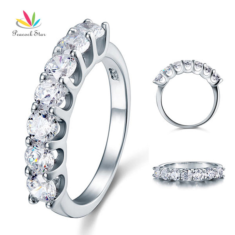 Peacock Star 1.75 Carat Seven Stone Solid 925 Sterling Silver Wedding Ring Jewelry CFR8043 osias ship from us cn brand new 340lph high performance fuel pump replace walbro 255lph gss342