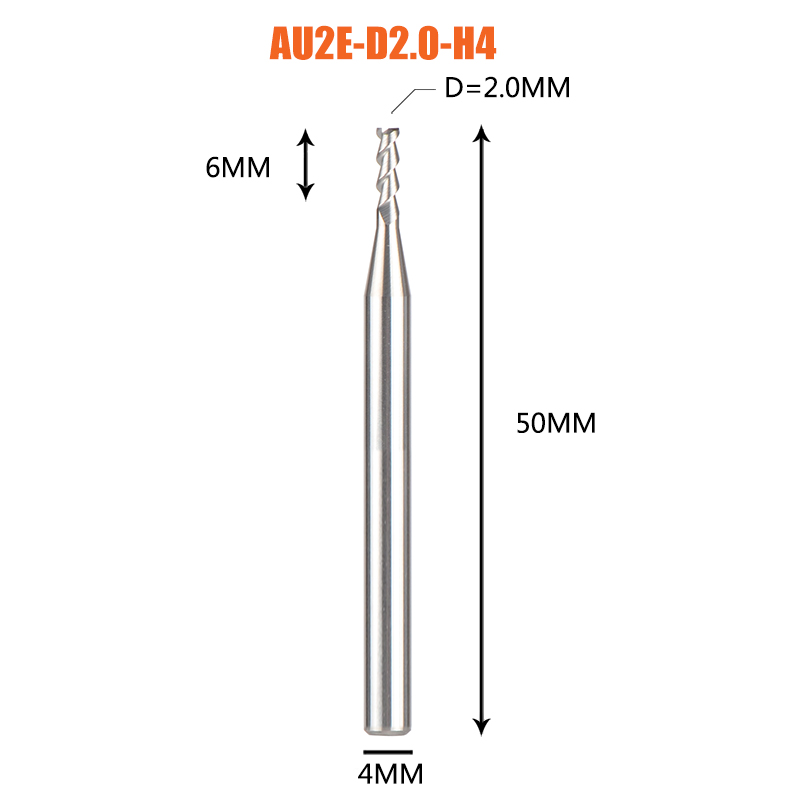 1 pc 3 флейты фрезы вольфрамового сплава концом ЧПУ фреза алюминий фреза для алюминия и деревообрабатывающие - Длина режущей кромки: 1PC-AU2E-D2.0-H4