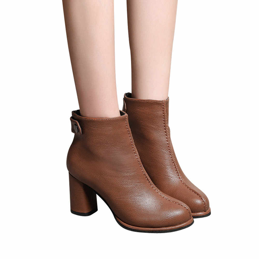 YOUYEDIAN Women Leather Round Toe Solid Color Boots Ankle High Heels Zipper Martin Shoes High Heels Zipper Martin Shoes #a25