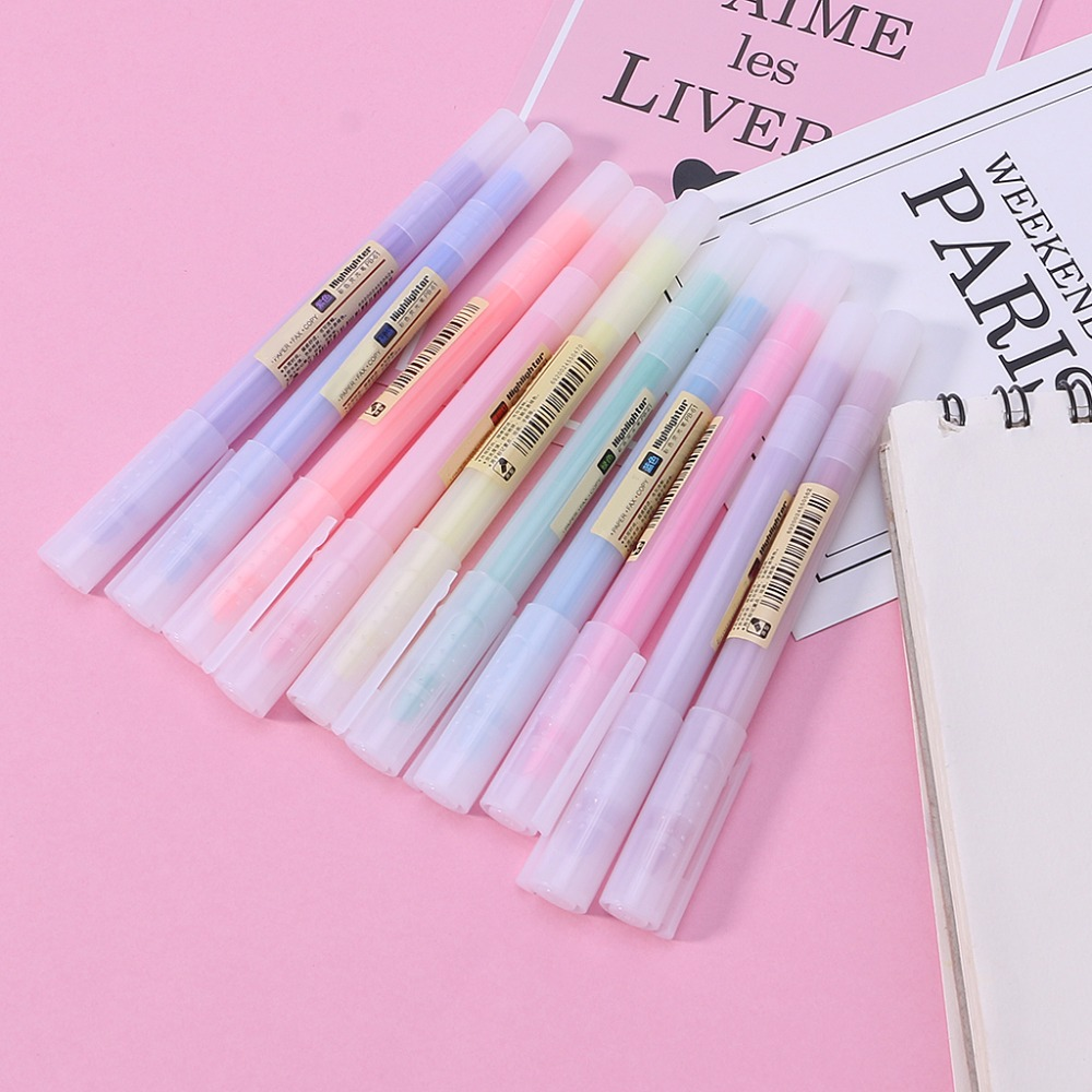 10Pcs Fluorescent Pen Mild Liner Highlighters Color Marker Pen School Supplies