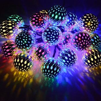 DCOO Solar String Lights Moroccan Ball 15ft 20LED Globe Fairy Solar Powered Orb Lantern Christmas Lighting For Outdoor Garden