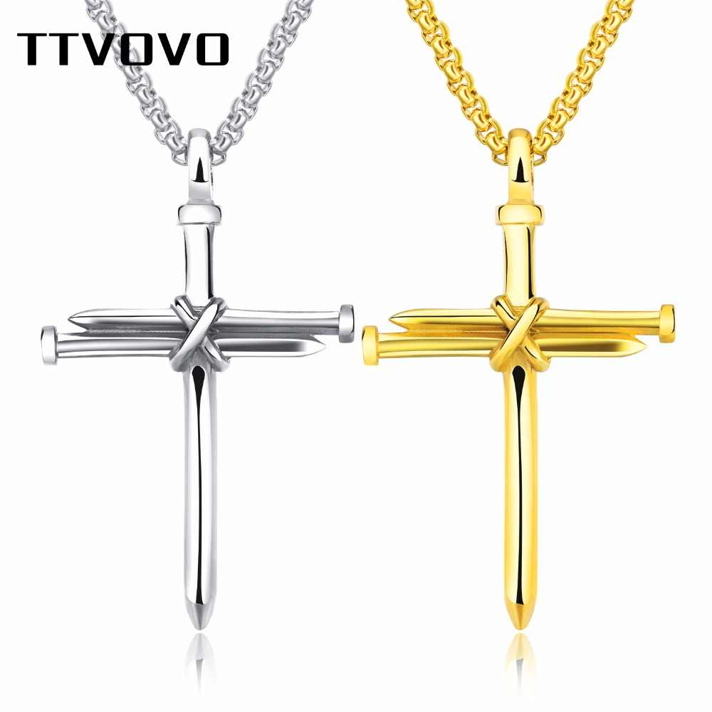Christian Nail Cross Necklaces for Men Jesus Christ Casting Steel Nail Cross Pendant Stainless Steel Male Punk Religious Jewelry