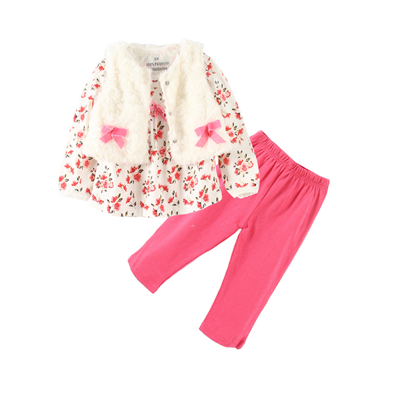 Mudkingdom Baby-Girl-Set Pants Waistcoat Infant Children O-Neck Autumn Spring 3pcs Floral