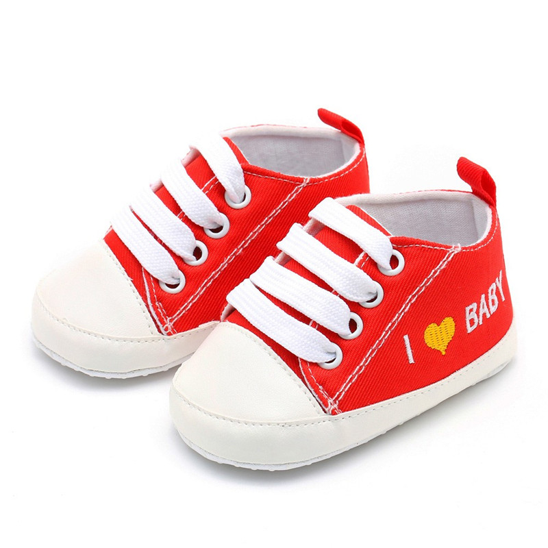 Newborn Toddler Baby Girls Boys Heart Letter Print Solid Soft Sole Casual Shoes Baby Shoes A20