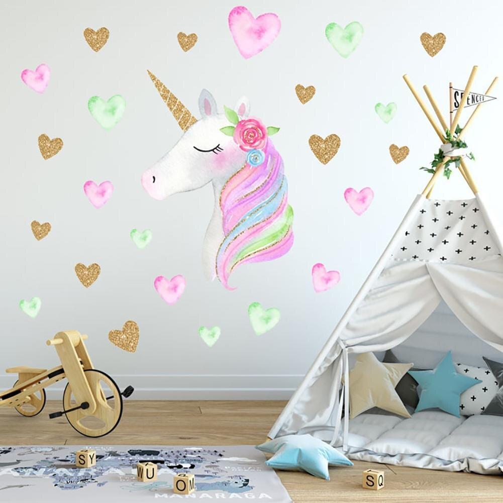 Us 364 12 Offkartun Lucu Unicorn Bintang Hati Stiker Dinding Wallpaper Diy Vinyl Anak Anak Ruang Tamu Kamar Tidur Dekorasi Kamar Anak Perempuan