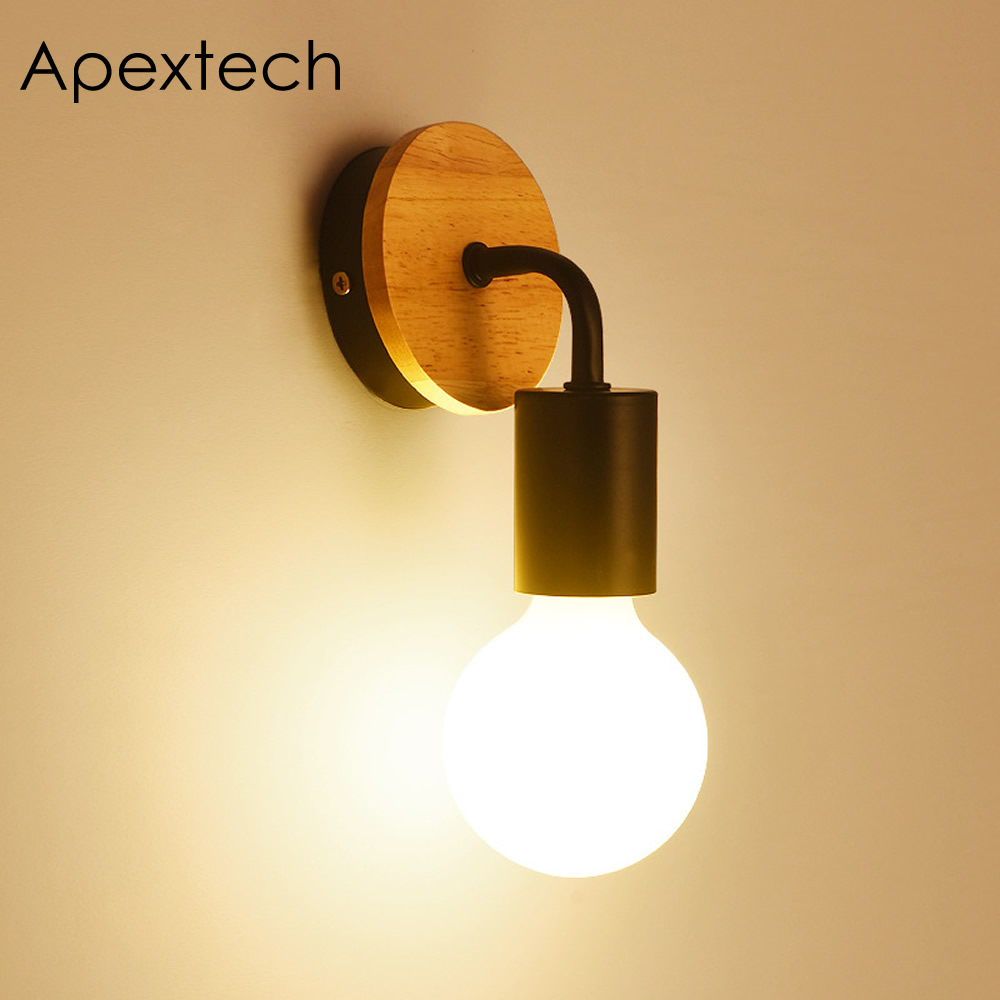 apextech wood wall lamp e27 base socket classic vintage wall mounted night light for bedroom. Black Bedroom Furniture Sets. Home Design Ideas