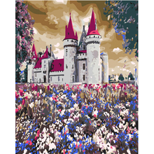 WEEN Flowers castle-DIY Painting By Numbers Modern Home Wall Art Picture Kits Acrylic Hand-painted Oil For Gift 40x50CM