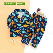 Children's pajamas sets autumn and winter dinosaur clothes boys pajamas baby children long-sleeved cartoon home service suit стоимость