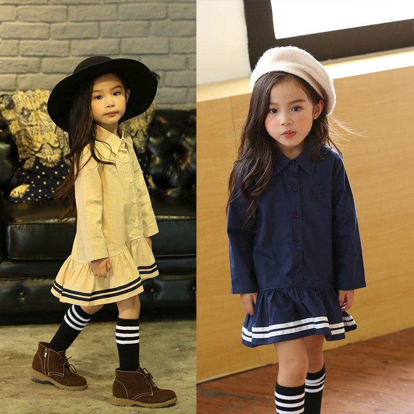 2017 spring baby girls dress junior kids long sleeve shirt dress sailor style princess dress school uniform for children baby point junior купить в интернет магазине