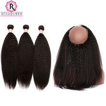Kinky Straight 360 Lace Frontal With Bundle Brazilian Remy Hair Weave 3 Human Hair Bundles Add Closure With Baby Hair Rosa Queen