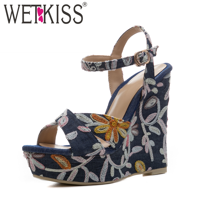 WETKISS Women Summer Embroider High Heels Denim Sandals Platform Ladies Shoes Wedges Open Toe Fashion Front Footwear phyanic 2017 gladiator sandals gold silver shoes woman summer platform wedges glitters creepers casual women shoes phy3323