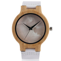 Casual Wrist Watch Nature Wooden Lady Men Quartz Watches White Genuine Leather Band Strap Clock Trendy