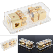 Universal 60A 1 In 2 Ways Transparent Copper Plated Car Stereo Audio Power Fuse Holder for Boat Vehicles Auto
