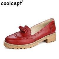 Coolcept Przywrócić Dawne Sposoby Poślizgu Na Platformie Kobiet Bowtie Mid Obcasy damskie Fashion Style Casual Wiosna Jesień Lolita Shoes