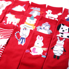 1 Pair China Style Cute Cartoon Animals Candy Cotton luck Socks Women Short Ankle Red for Girls Kawaii Gift