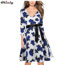 Women Elegant Floral Print V Back Special Occasion Dress Ladies Three Quarter Sleeve Casual Autumn A line Dresses with Sashes