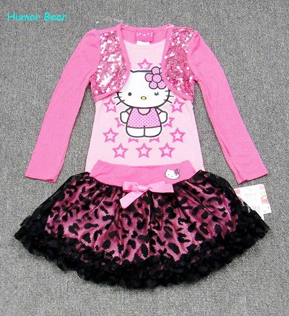 Юмор Медведь Дети девушки Устанавливает Юбка Костюм Одежда для новорожденных наборы С Длинным рукавом + юбка девушки одежду установить